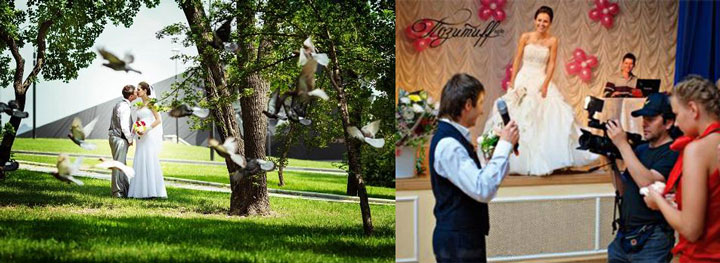 Молодожены в парке и голуби, свадьба в кафе