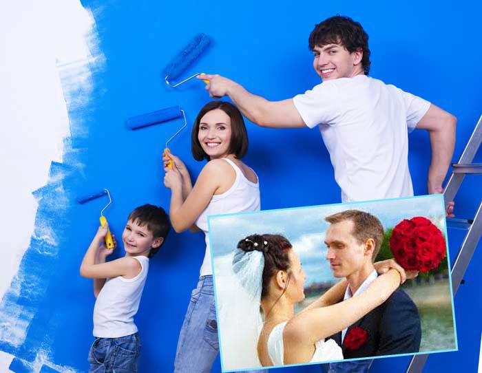 Молодожены и молодая семья красит стену