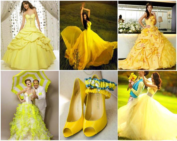 Платья невесты с желтыи тонами