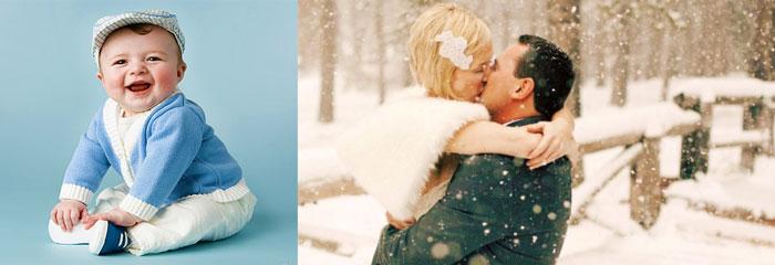 Молодожены весной и падающий снег, и малыш