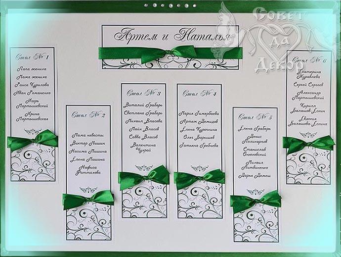 Списки гостей для рассадки по столам