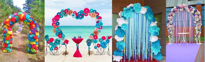 Арки на свадьбу из искусственных цветов