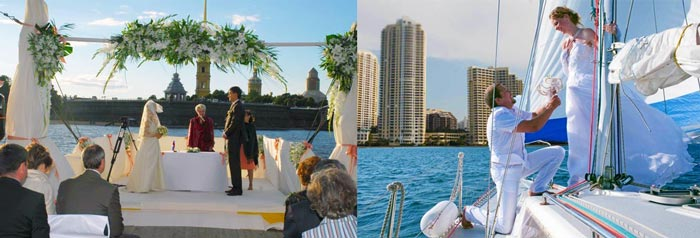 Яхта и свадебная сценка
