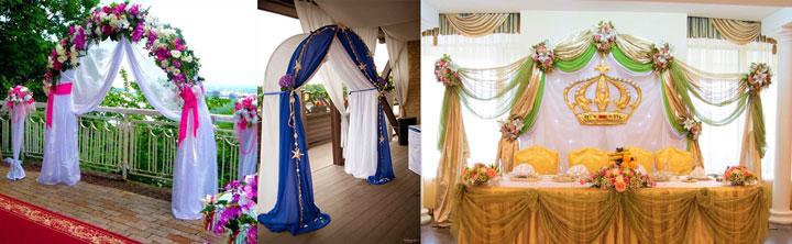 Арки на свадьбу с тканью и цветами