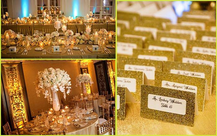 Золотые тона в украшении зала и рассадочных карточек