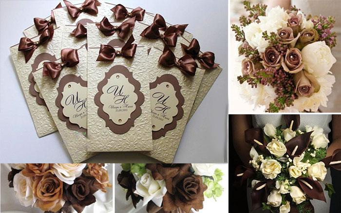 Букет невесты и пригласительные на свадьбу в коричневых тонах