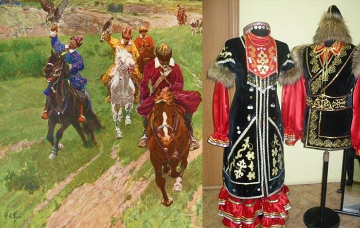 Башкиры на лошадях и башкирская одежда