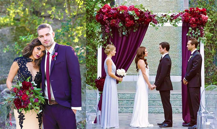 Свадьба в стиле бордовых тонов