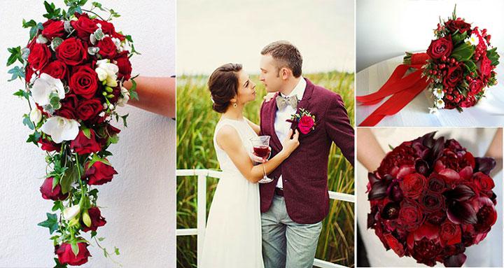 Бордовые тона в букете невесты и образах молодоженов