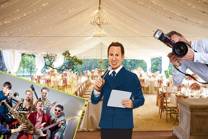 Свадебный зал, фотограф, тамада и музыканты