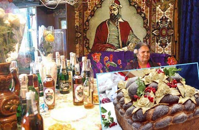 Цыганский каравай и вино для сватовтсва