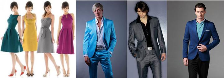 Разноцыветные мужские костюмы и платья