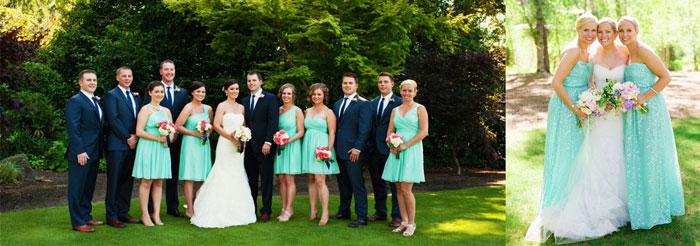 Одежда гостей на свадьбе в мятных тонах