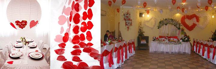 Оформление зала сердечками в стиле дня влюбленных