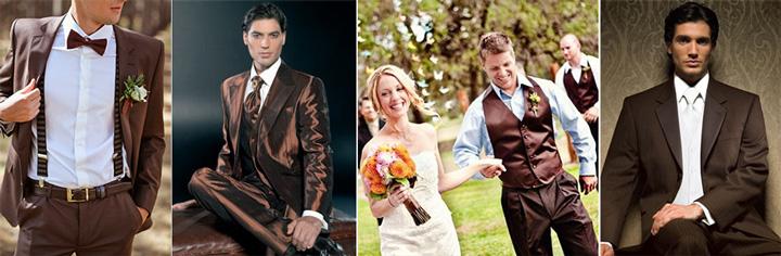 Костюмы для жениха в коричневом стиле
