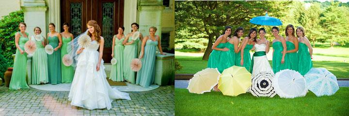 Невеста с подругами с веерами или зонтиками