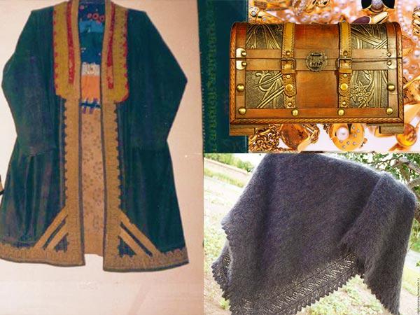 Сундук, шаль и башкирский халат