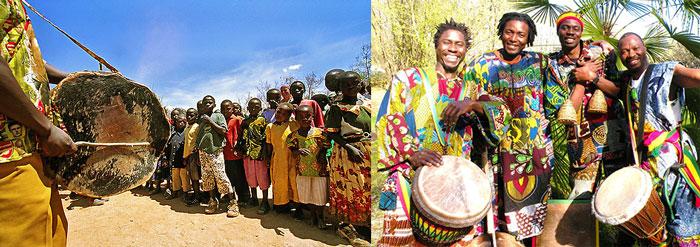 Там-тамы и джембы инстурменты на празднике в Африке
