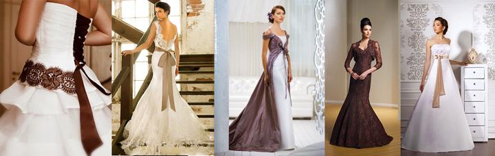 Садебный наряды невесты с коричневыми тонами