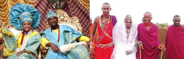 Африканские жених и невеста в креслах и на обряде