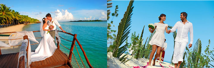 Молодожены на пляже и в отеле на берегу океана