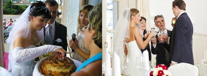 Встерча молодых с караваем и тосты родитилей на свадьбе