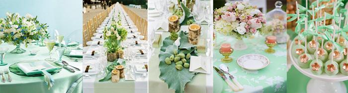 Аксуссуары на свадьбу в мятных тонах