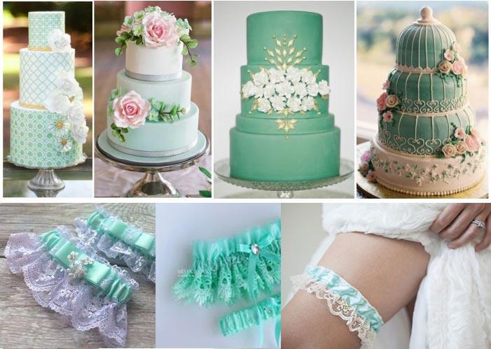 Торт и подвязка невесты в мятных тонах