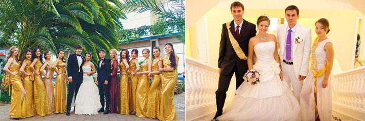 Гости и свидетели на свадьбе в золотых тонах