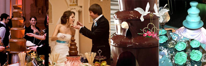 Шоколадный фонтан на свадьбе и голубки с сердечками