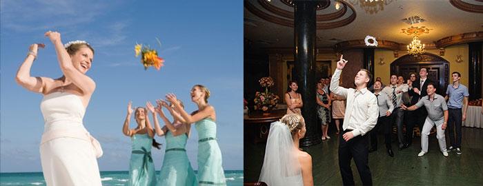 Современные ритуалы бросания букета и подвязки на свадьбе