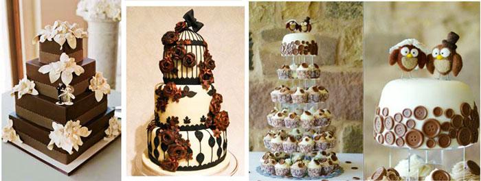 Коричневые цвета свадебных тортов