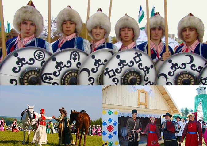 Башкирские скачки, борьба и песни на свадьбе