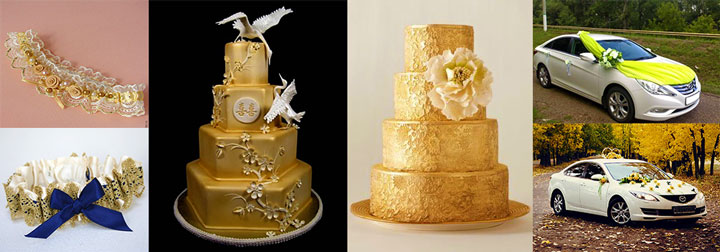 Торты, подвязки, кортеж на свадьбе в золотых тонах