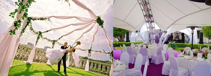 Молодожены и свадебные шатры