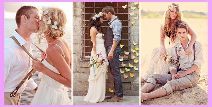 жних и невеста в стиле хиппи