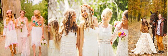 Невеста, подруги и жених в стили хиппи