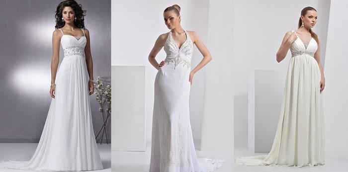 Свадебные платья: стиль ампир из тафты