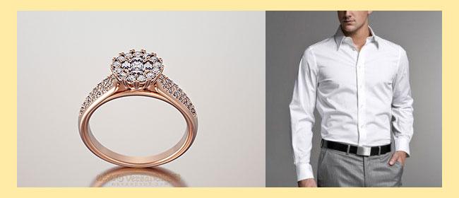 Помолвочное кольцо и мужская рубашка