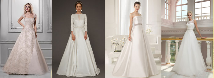 Свадебные платья А-силует из тафты