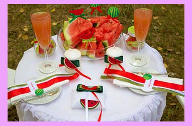 Свадебный стол в стиле арбуз