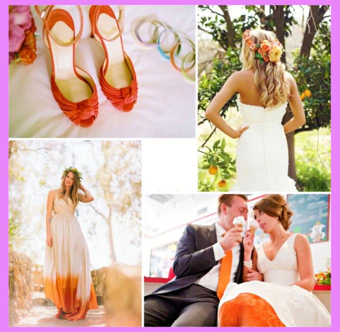 Аксессуары для свадьбы в апельсиновом стиле