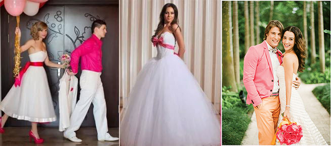 Наряды жениха и невесты в малиновом цвете