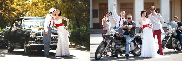 Свадебные авто и мотоцикл с молодоженами