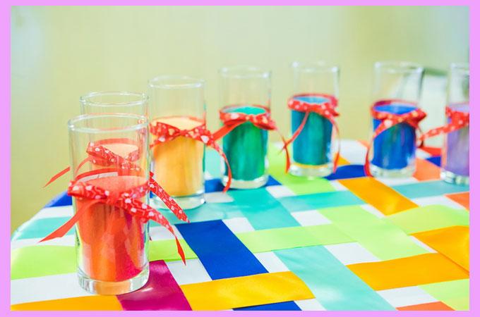 Радужные свадебные бокалы
