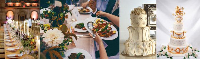 Свадебные блюда и торт по королевски