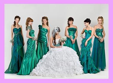 Невеста с подругами в изумрудном цвете