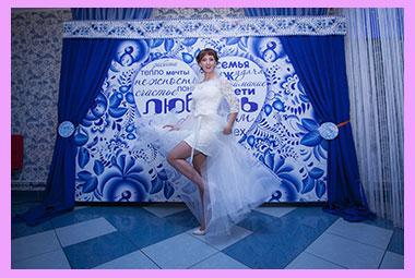 Невеста и фотозона в стиле гжель