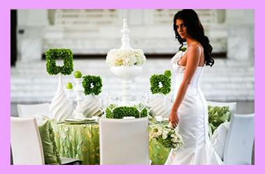 Невеста и зал с зелеными тонами