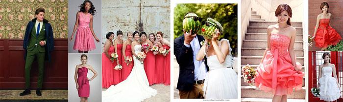 Наряды жениха и невесты на арбузной свадьбе